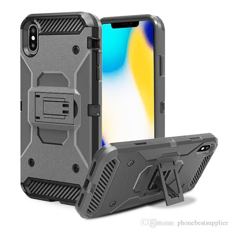 Telefon Tutucu Ile serin Açık Durumlarda Iphone XS Max XR X 6 S 7 8 artı iphone 5 S / 5C / SE Geri Zırh Cep Telefonu Cep Telefonu Kılıfları