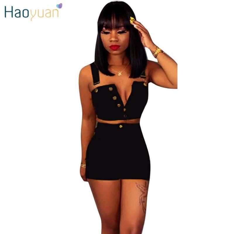 Haoyuan denim insieme a due pezzi Donne Bassiera e pantaloncini di jeans Summer Festival abbigliamento sexy Club Plus Size Outfits Prodotti coordinati