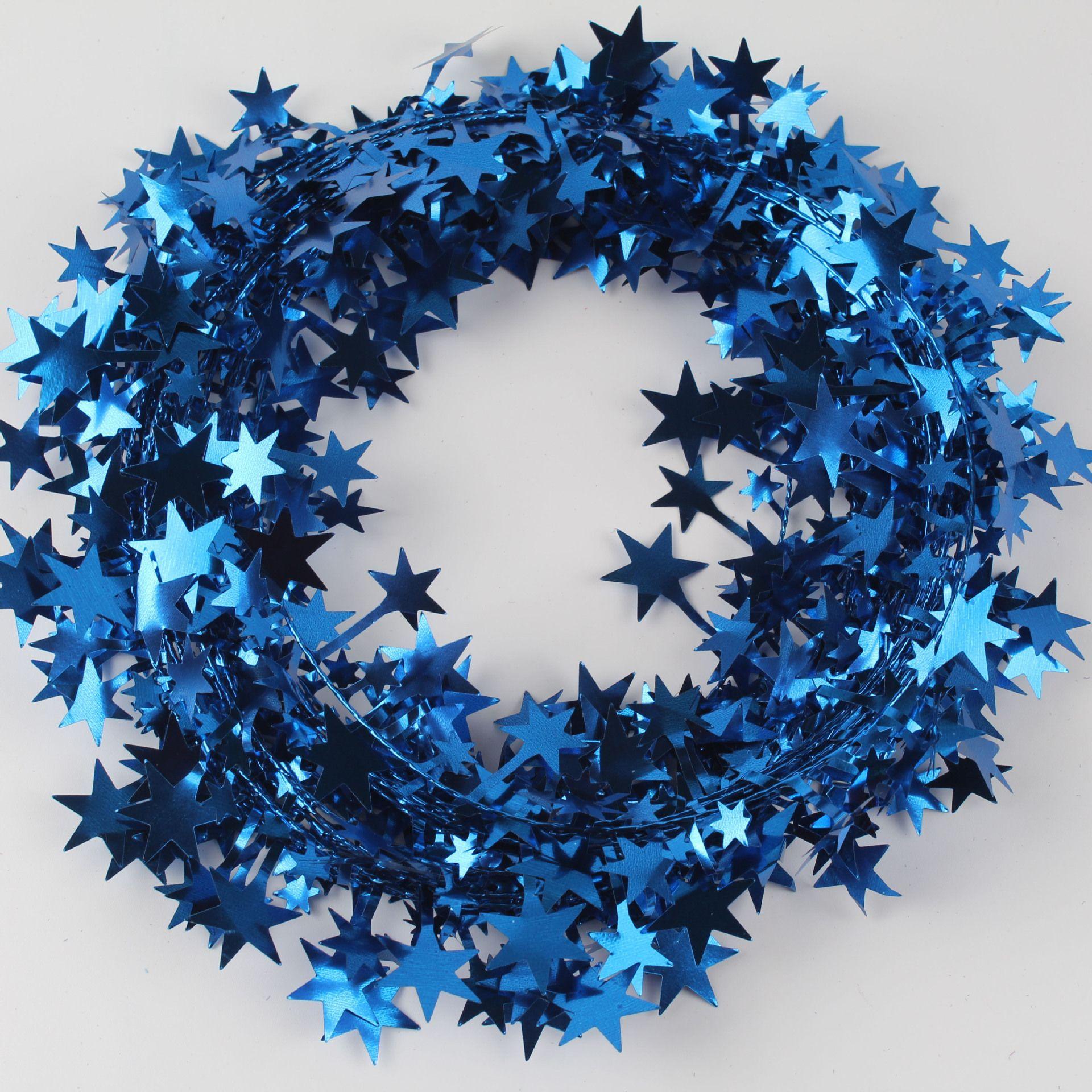 Wired Silver Star Tinsel Garland 50 feet  Wreaths Crafts Party Supplies Weddings