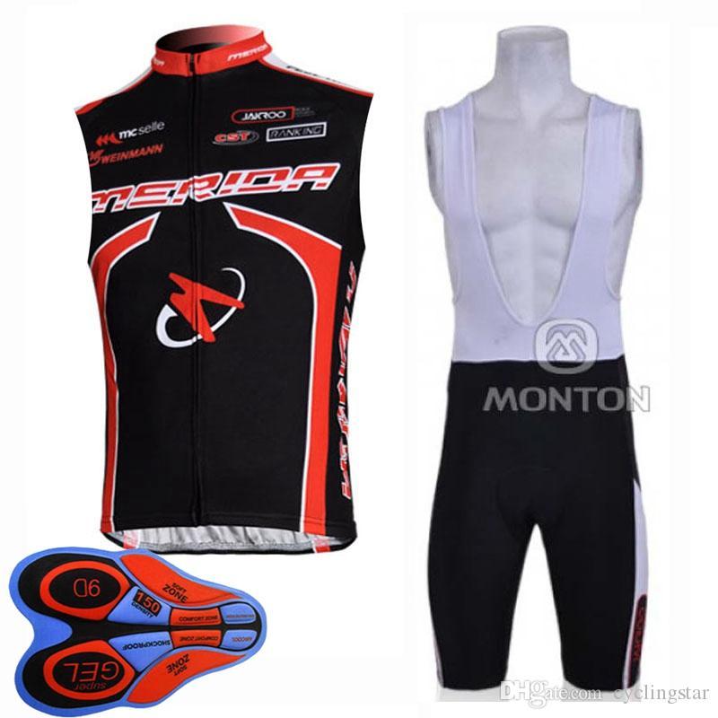 Pro Team Mérida traje maillot sin mangas del chaleco de la bicicleta bib de secado rápido deporte de la bicicleta fijado verano trajes Ropa ciclismo Y20032708