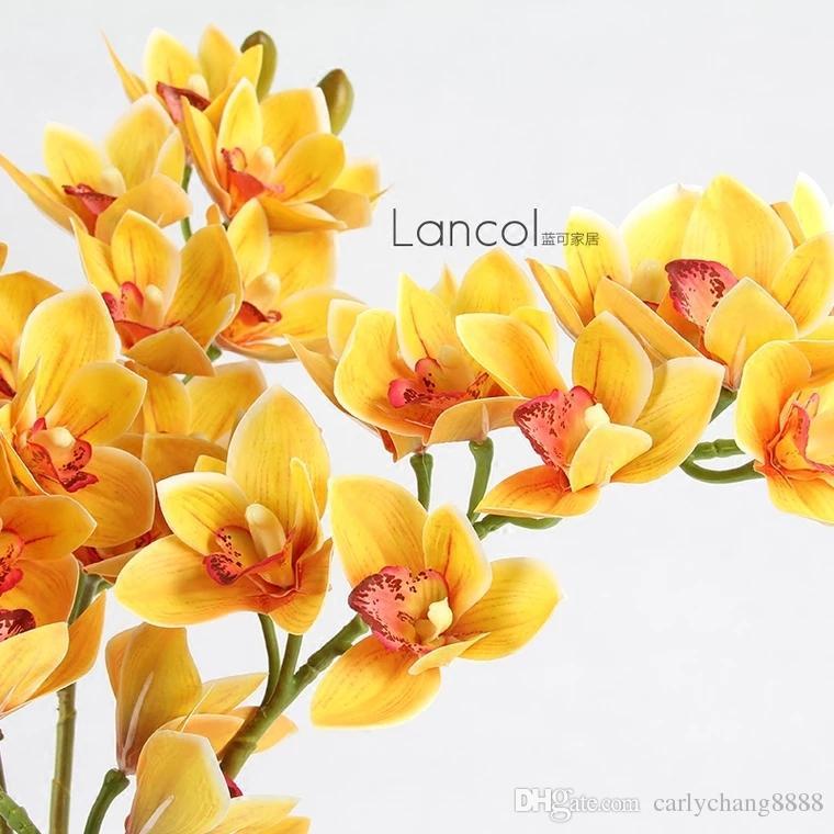 Faux orange couleur orchidées de mites longue tige orchidée 14 Phalaenopsis orchid 14 têtes / pièce pour le mariage de fleurs artificielles décoratives