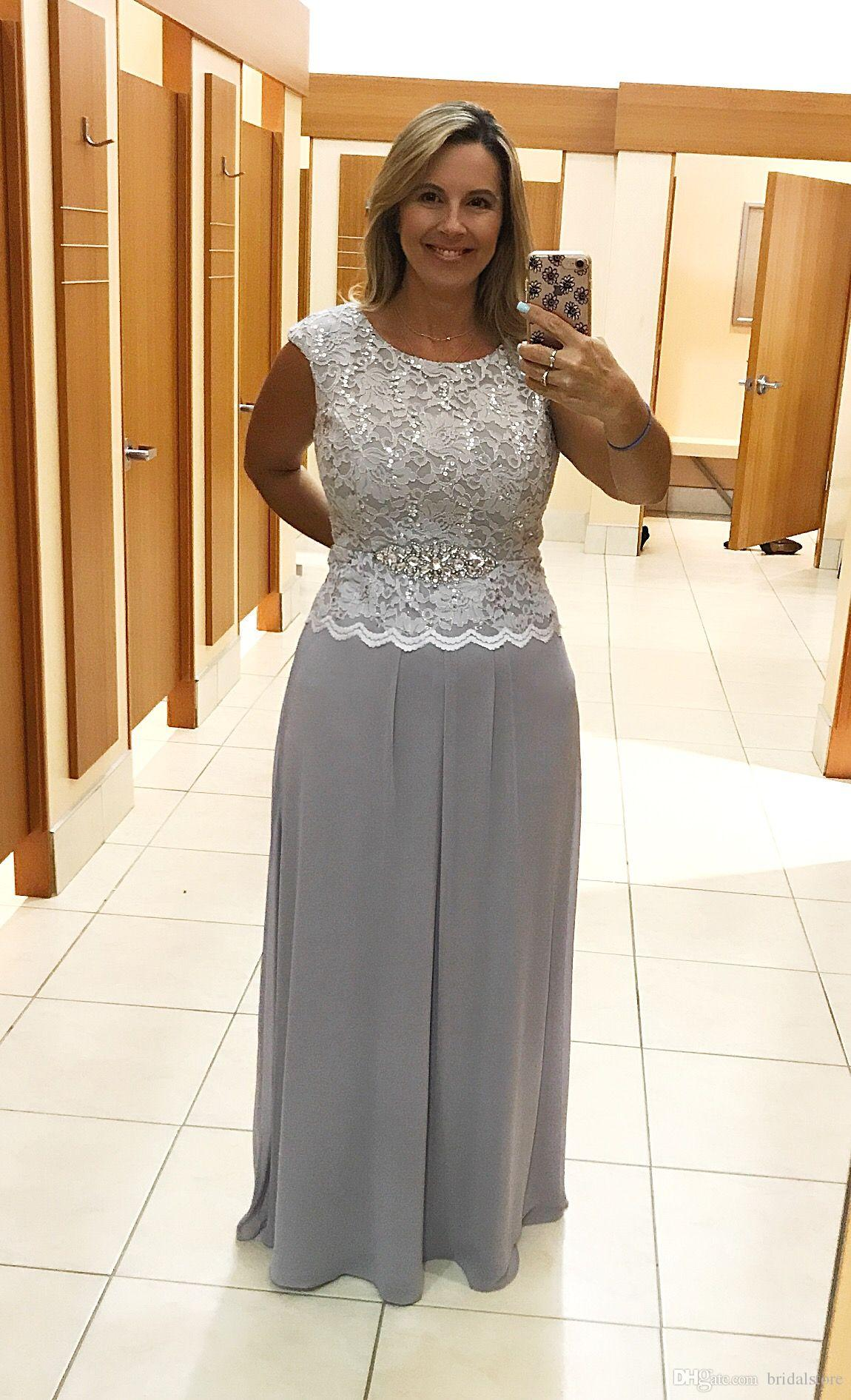 Summer Silver Mother Of Bride Dresses Jewel Top Sequin Lace Embellished  Plus Size Groom Mother Dress Elegant Floor Length Chiffon Outfits Mother Of  ...