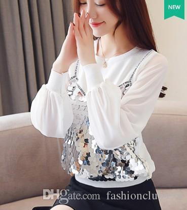 Frete Grátis Nova Chegada Venda Quente Especial de Moda Mulheres Blusas de Escritório de Malha Branco Costura Lantejoulas Camisa Assentamento Top Tide Camisas