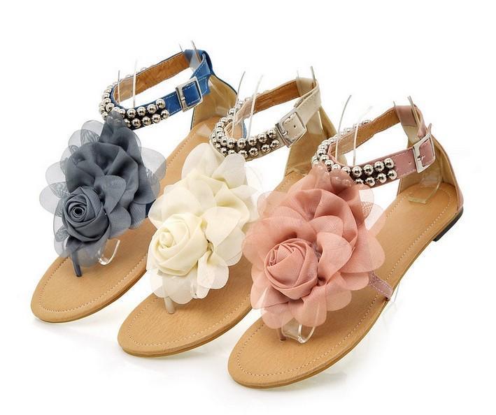 Hot Sale-bas Sandales pour Femmes 2017 D'été Lady Fleur Pantoufles Size35-41 Mode Femmes Chaussures