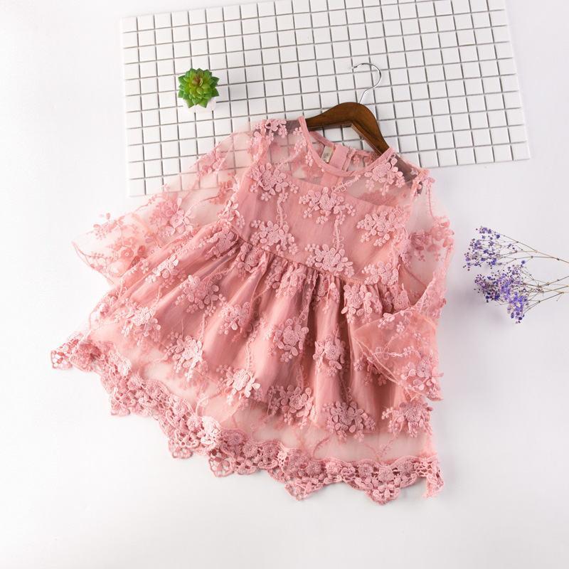 Baby Mädchen Brautkleider Sommer Kinder Mode Mesh Stickerei Kleidung Kleid Für Mädchen Kind Langarm Prinzessin Party Kleid Mädchen Kleidung