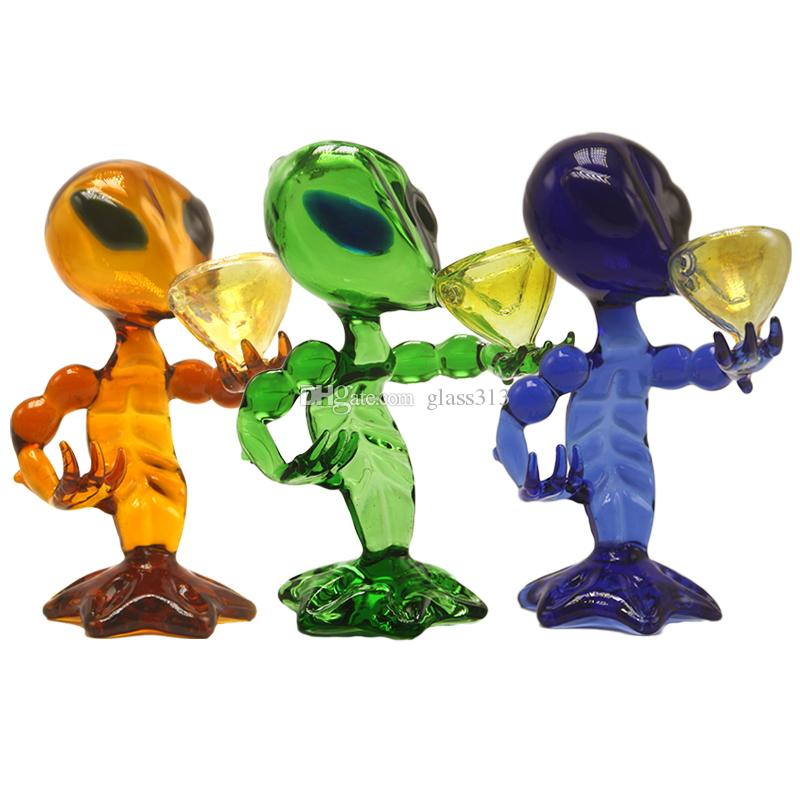 DHL Free Alien Glass Pipes Glass Smoking Water Pipes 18cm Height Green Blue Brown Smooth Hit Boroglass Alien Glass Pipe Bong