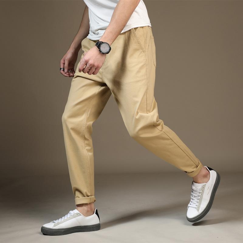 Renk: Siyah Haki Mavi Erkek Casual Pantolon 2020 Yeni Erkek Esneklik Bacaklar Elastik Bel Günlük Pantolon Fat Gevşek Pantolon Boyut 28-48