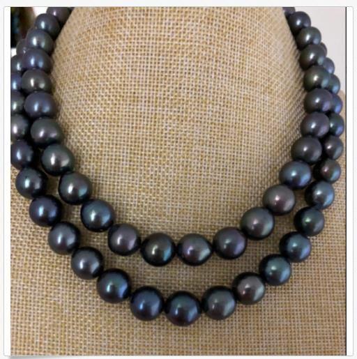 """doppi fili 10-12mm Tahitian rotondo nero verde collana di perle 18 925s """"19"""""""