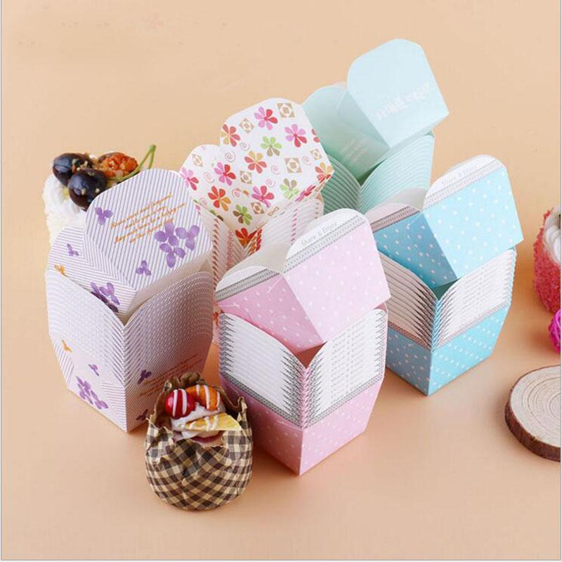 Paper Baking Cups Cupcake Case Disposable Muffin Square Cake Cup Liners Boxes Cases for Wedding Party Supplies