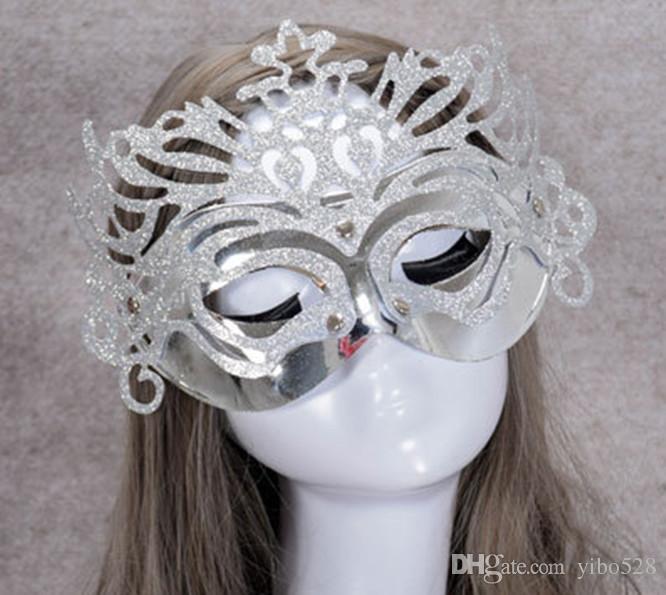 2019 Half-face Dança Máscara Coroa com Pó De Ouro para a Festa de Casamento Masquerade Halloween Carnaval de Natal Decoração PVC