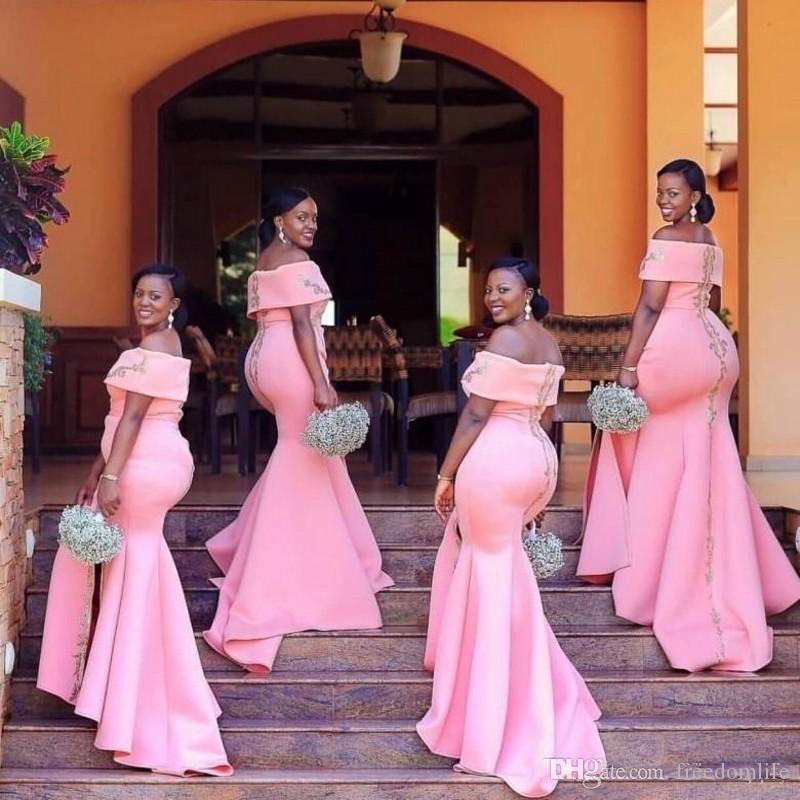 2019 Africano Árabe Cor-de-rosa Mermaid Drawsmaid Vestidos Off Off Floor Plus Plus Size Doméstica de Vestidos de Honra Split Vestido de Noite