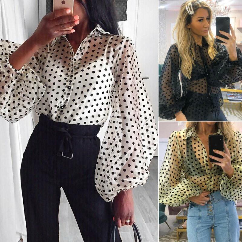 Moda Noktalar Bluzlar Kadınlar Seksi Sheer Polka Dot Organze Bluz Üst Perspektif Puf Kol Blusas