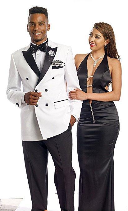 Populares Double-Breasted de los padrinos de pico solapa esmoquin novio hombres Trajes de boda / baile mejor hombre Blazer (chaqueta + Pantst + Tie) 921