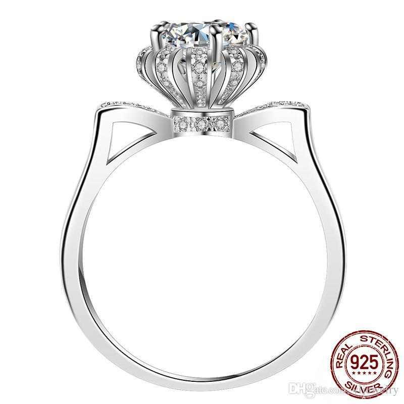 Classic 1.2ct CZ Zircon Wedding Engagement Crown Rings for Women 925 Sterling Silver Jewelry Brand Bridal Ring XR278