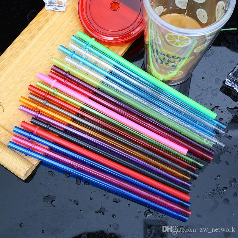 10.5inch Colorful Plastic Drinking Straws 26cm Reusable straws for tall skinny tumblers PP candy color straws for cocktail bar tools