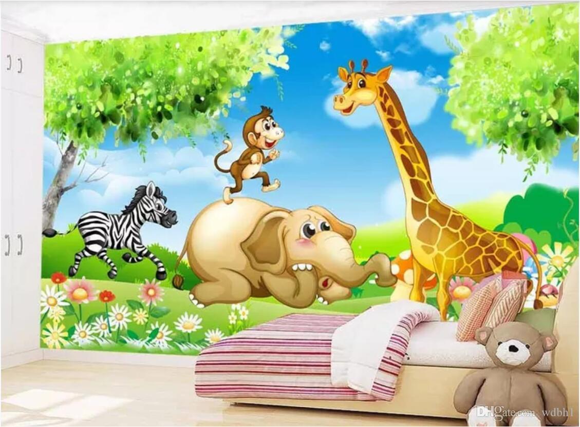 Carta da parati della stanza 3d abitudine murale disegnato a mano del fumetto stanza dei bambini animale parete murale carta da parati per pareti 3 d