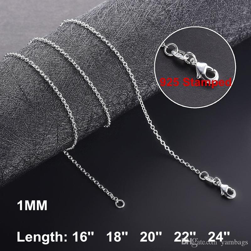 1mm 925 in argento sterling catene di collegamento collane per le donne ciondolo aragosta stringili rolo catena moda moda gioielli accessori 16 18 20 22 24 pollici