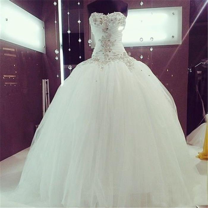 Beaded Lace Ball Gown Wedding Dresses Sexy Sweetheart Applique Draped White Tulle Corset Custom Made Bridal Gowns