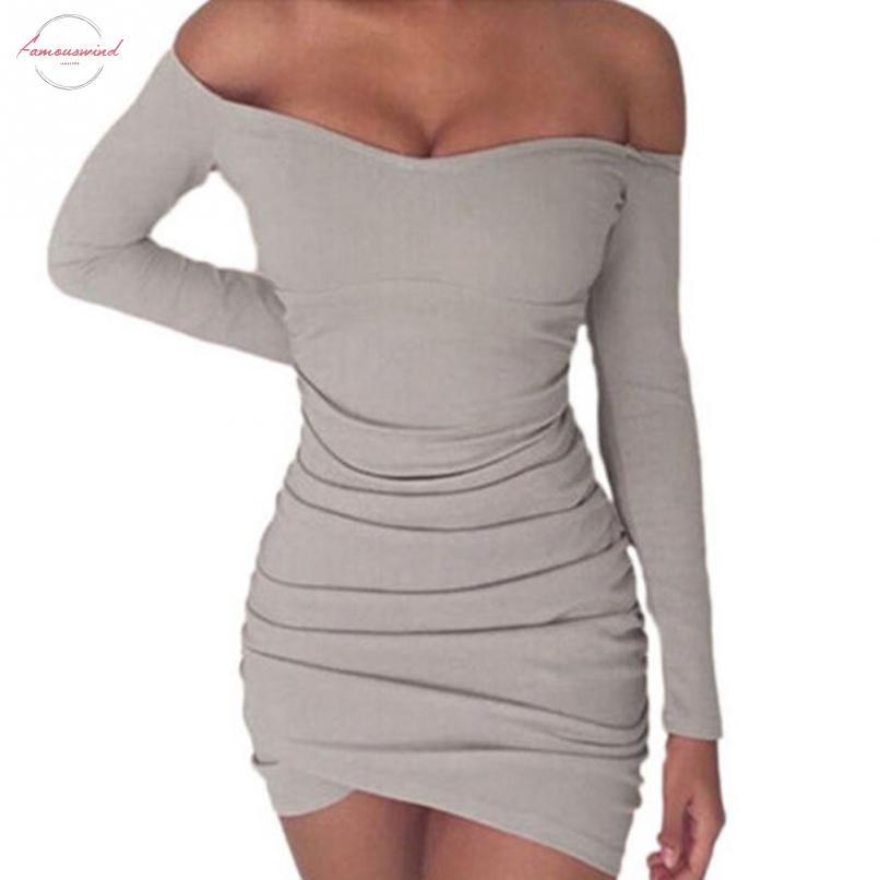 Herbst-Frauen-Stricke Bodycon Sexy Enges Kleid lange Hülse weg vom Schulter-dünnen Minikleid Mini Party Pack-Hüfte-Kleid 20