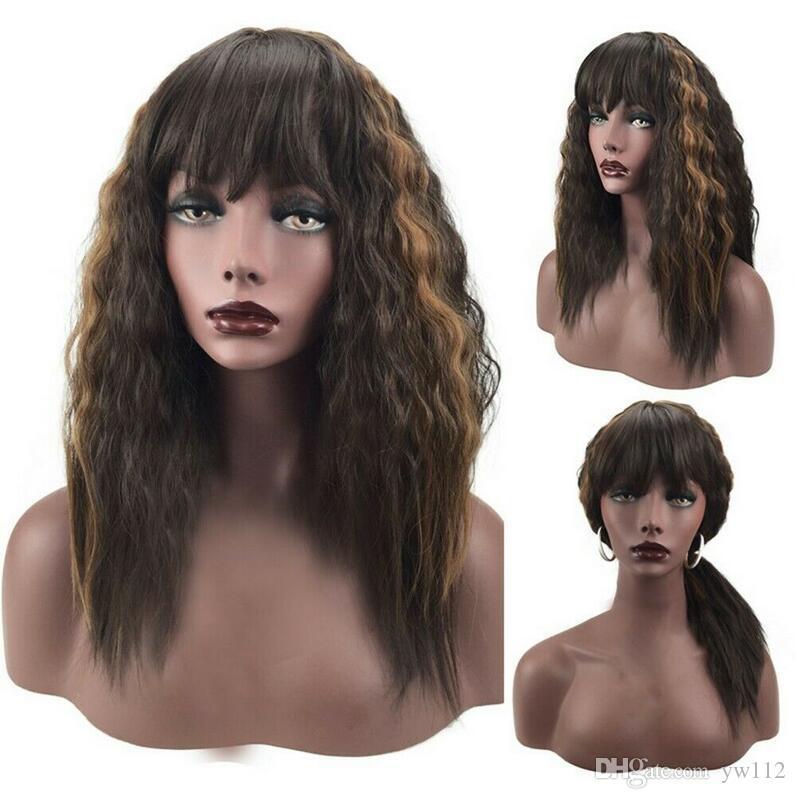 Frauen-Gradient Braun Mittel Langes Haar Curly Hochtemperatur-Perücke-Partei Cosplay