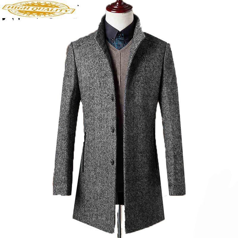 78% Woolen Overcoat Men Brand-Clothing High Quality Mens Wool Coat Men Jacket New Mandarin Collar Mens Coats Overcoats WUJ1157