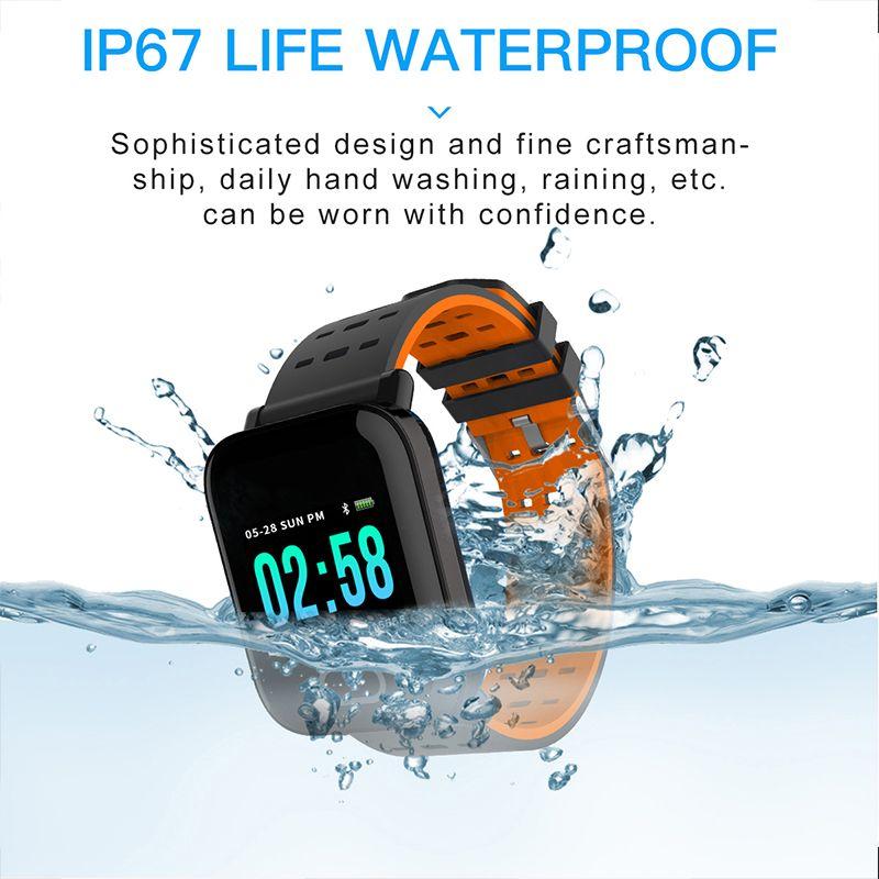 A6 الذكية ووتش للياقة المقتفي الاسورة لون شاشة تعمل باللمس مقاومة للماء ساعة ذكية الهاتف مع رصد معدل ضربات القلب للهدايا IOS الروبوت