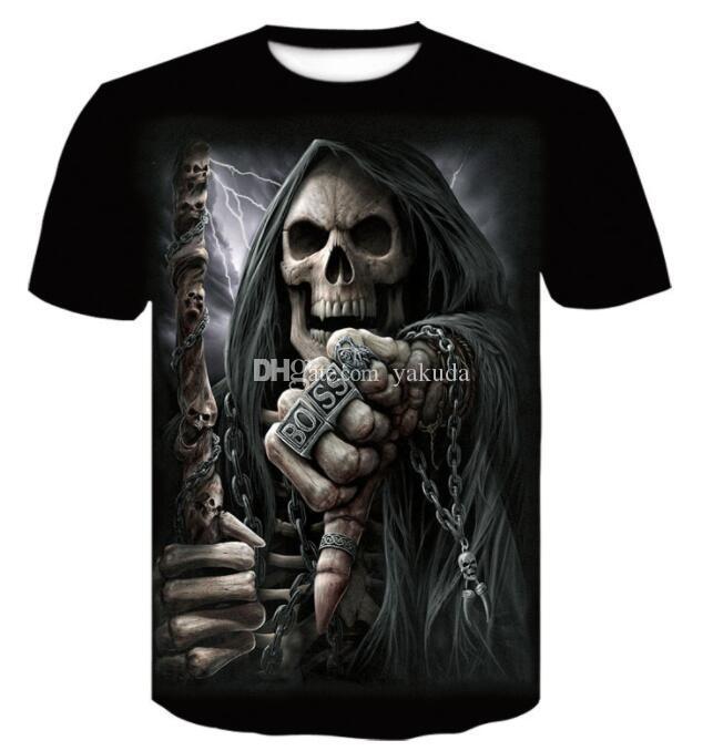 Design Online Allerheiligen Rundhals digitaler 3D-Schädeldruck T-Shirt Männer Kurzärmeliges beiläufige lose gedruckte Männer Kleidung Kleidung tragen