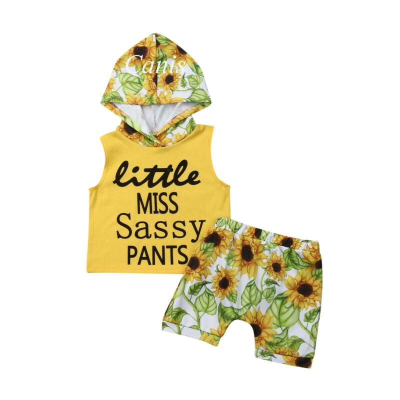 0-3Y 2pcs infantil Criança Meninos Meninas Roupas Girassol com capuz Tops Shorts sunsuit bebê Outfits