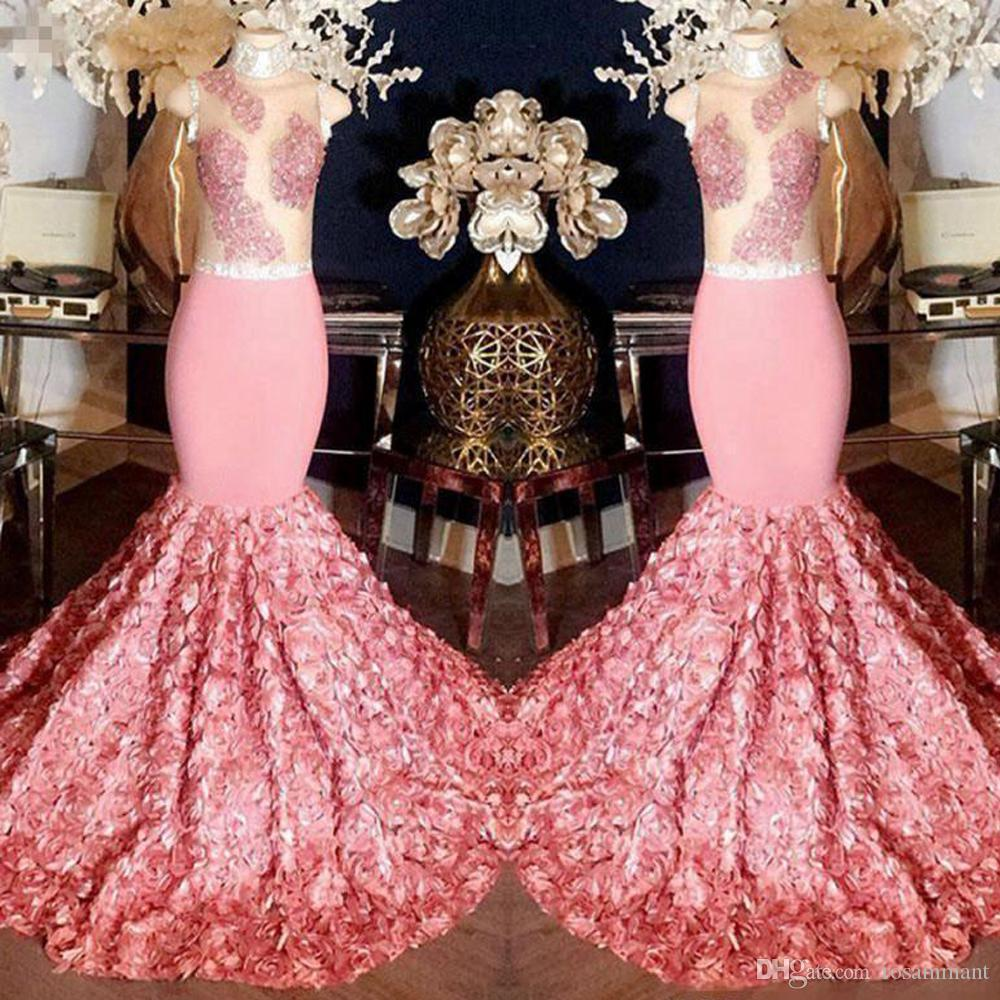 Gorgeous Pink Mermaid Prom Dresses Sheer Top With Appliques 3D Rose Flower Sweep Train Evening Gowns Cocktail Formal Party Dress