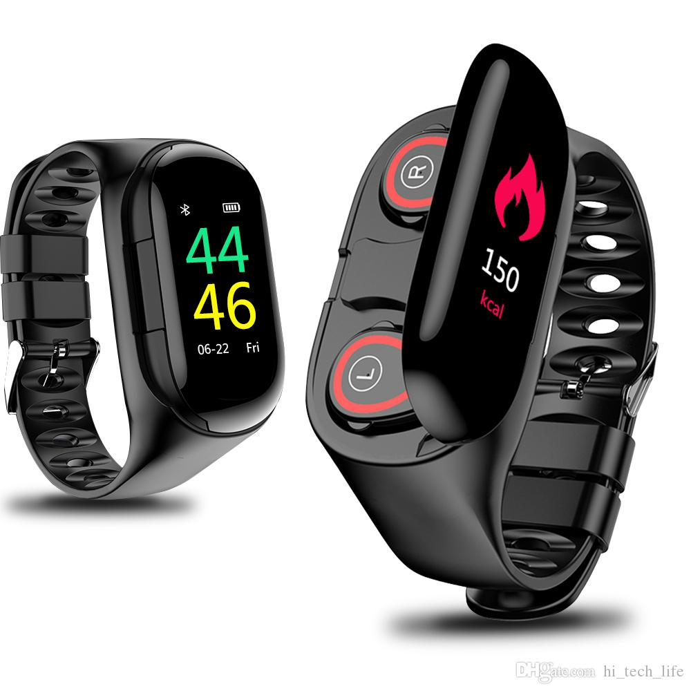 2 em 1 impermeável relógio inteligente Heart Rate Monitor Bluetooth fone Headphone de Fitness Rastreador Blood Pressure smartwatch android relógio inteligente