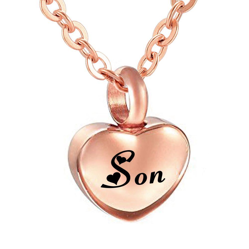 Кремация ювелирные изделия простой маленький розовое золото сердце кремация кулон пепел мемориальное ожерелье из нержавеющей стали 316L обычай имя