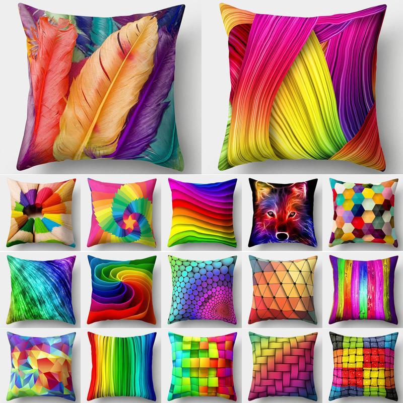 Радуга наволочка наволочка подушка красочные геометрические перо полиэстер декор для домашнего автомобиля диван наволочка