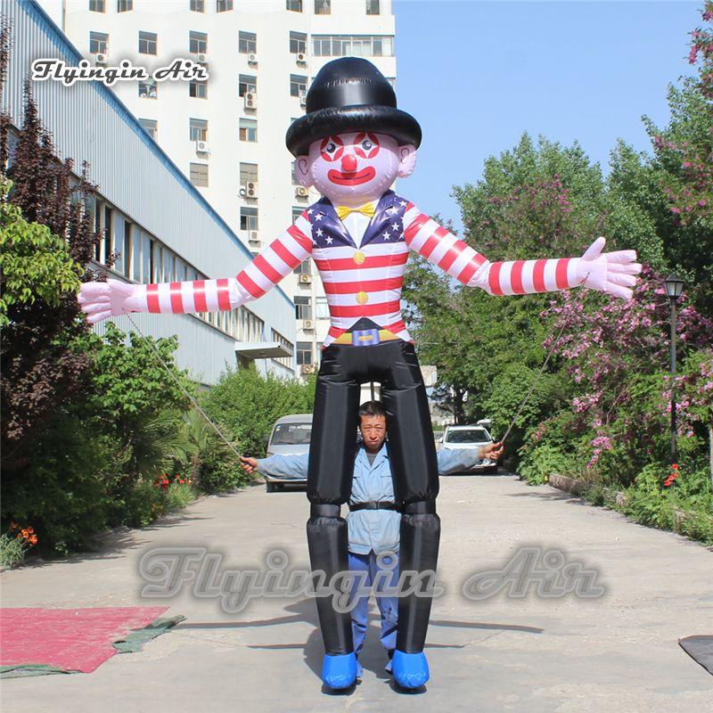 Abiti Parade prestazioni Walking gonfiabile del costume del pagliaccio 3.5m mano Controlled Walking Blow Up Clown marionette per Advertising Show