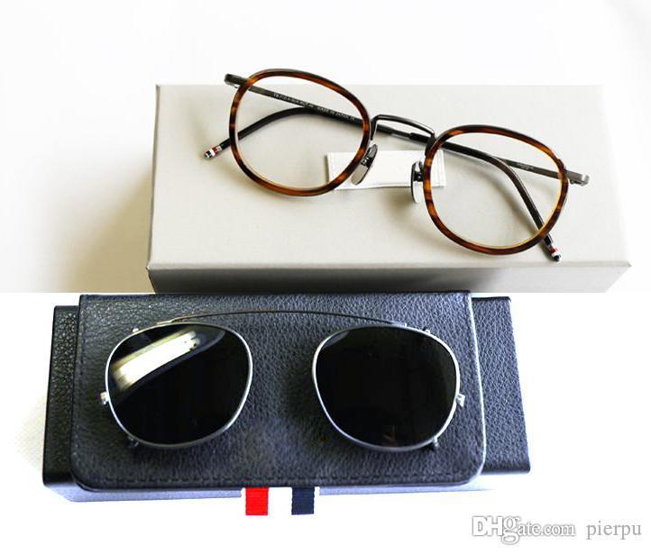 New York Round Reading Eyeglasses Frames Or Sunglasses men women Optical Titanium prescription eyeglasses TB710 sun glass with clip with box