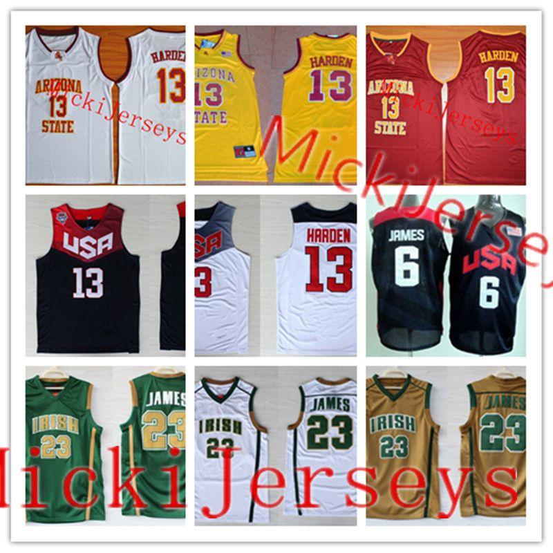 Vincent St 3XL Mary Irish High School Basketball Jerseys S LeBron James St
