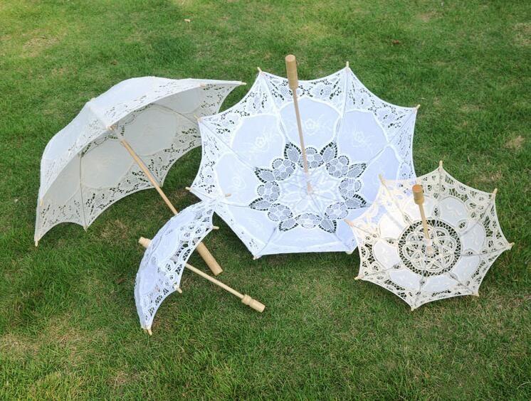 مقبض طويل اليدوية فن الزفاف الإسكالوب حافة التطريز القطن الخالص الدانتيل مظلة الزفاف مظلة رومانسية صورة الزفاف