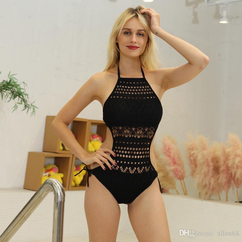 Yeni 2019 yaz kadın yuvarlak boyun tek parça mayo Avrupa ve Amerika seksi sıkı dantel ajur bikini Mesh Katı Plaj Stil Bodysuits
