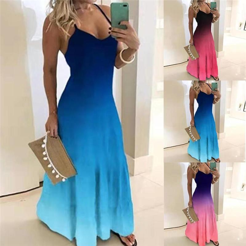 2020 슬림 그라데이션 프린트 걸레질 롱 드레스 여성 민소매 디자이너 드레스 여름 패션 숙녀 휴일 드레스