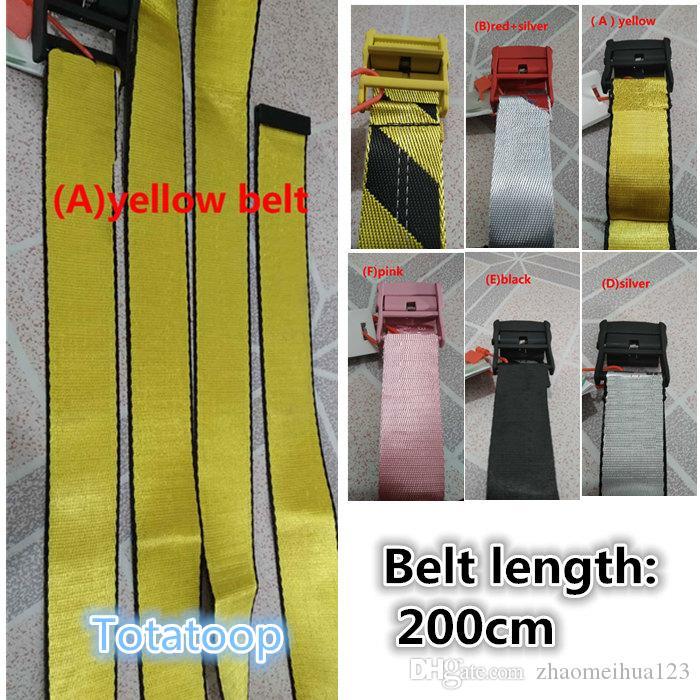Totatoop 20ss جديدة عصرية عالية الجودة قماش الرجال حزام أبيض الترفيه الذهبي حزام أصفر جيد الصنع قماش الرجال والنساء الأحزمة 200CM