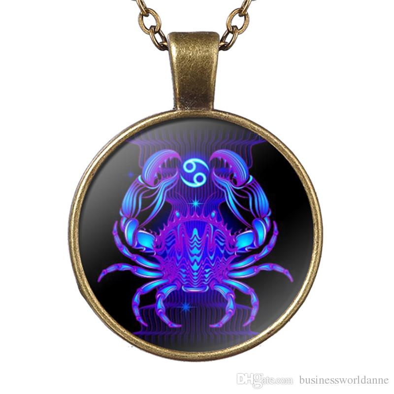 Hot Quality 12 Constellation Zodiac Cancer Time Gem Glass Cabochon Pendant Necklace Long Link Chain Women Men Choker Jewellery Free Shipping