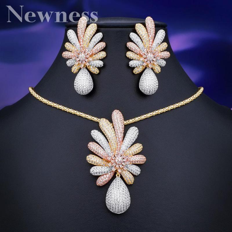 Newness neu kommen Luxuxblume Halskette Ohrring-Sätze KubikZircon Schmuck-Set für Frauen Hochzeit Dubai Brautschmuck