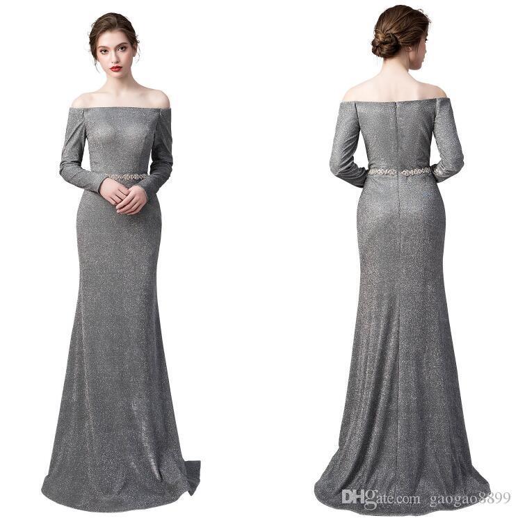 2019 Nowy Prawdziwy w magazynie Syrenka Suknia wieczorowa Specjalne okazje Sukienki Zroszony Bateau Długie Rękawy Prom Party Pagewant Tanie Suknie Custom Made