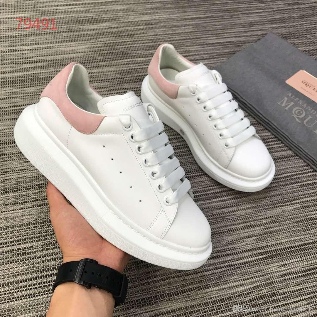 2019 couro grosso um lexander m cqueens tênis estrela vermelha sapatos brancos aumento casal selvagem dos homens das mulheres sapatos não com caixa Branco Rosa