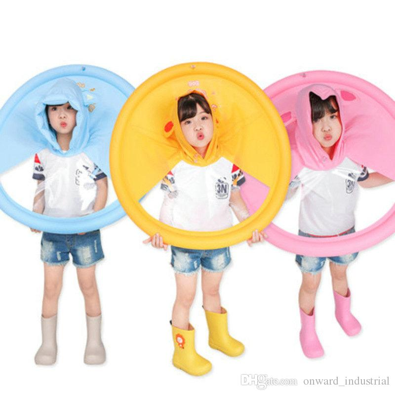 Children's Raincoat Transparent UFO Raincoats Hands Free Rain Poncho Baby Funny Duck Rain Coat Rain Cover Raincoat for kids
