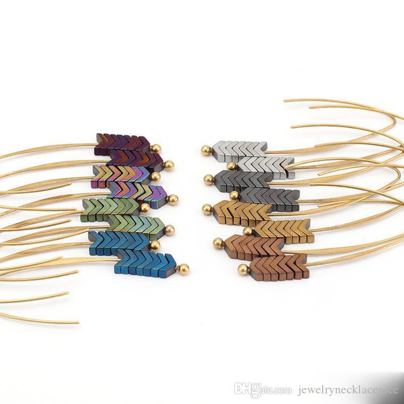 Vintage Gold Metal Freccia orecchini per le donne retro orecchini Bohemian nappa lunga frangia ciondola gli orecchini