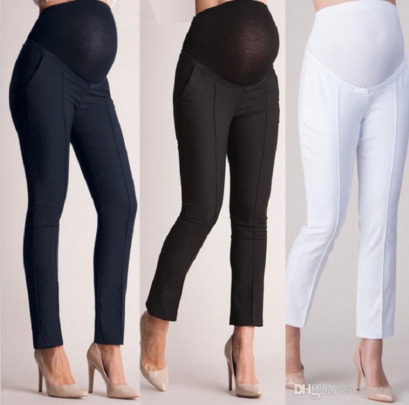 Femmes enceintes Pantalons Collants Crayon Pantalon Taille haute Serrés Section mince Hip Capris Skinny Élastique Force Unicolore 24