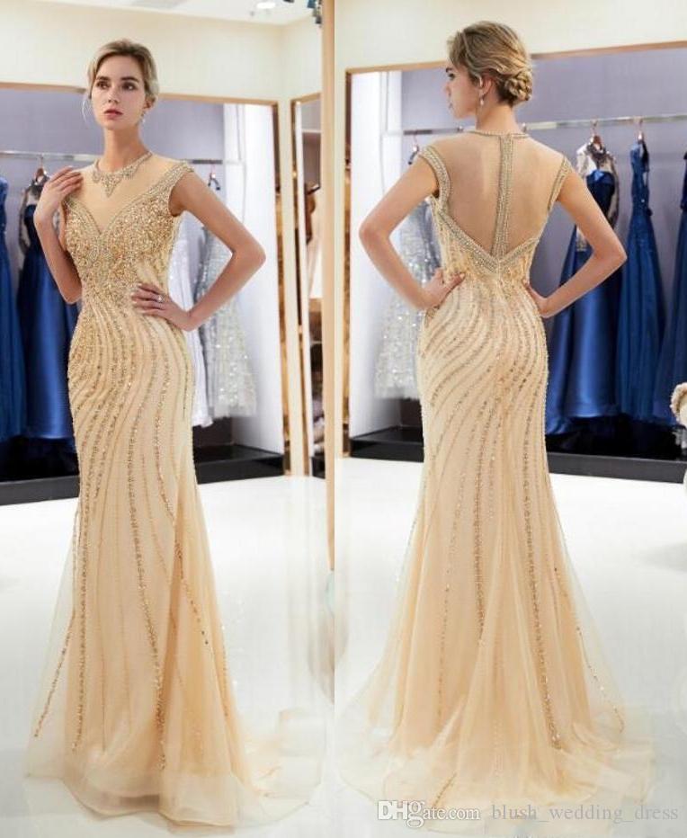 2020 neue Nixe wulstige Braut Prom Abendkleider Jewel Ausschnitt Elegante Brautkleider einzigartige Tulle-Kristallgold Partei-Kleid DH370