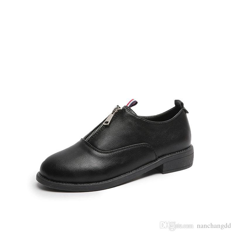 Chaussures de sport pour femme 2019 Femme Zip Chaussures de cuir respirant été British Girls Cut Outdoors Sport Chaussure Chaussures habillées