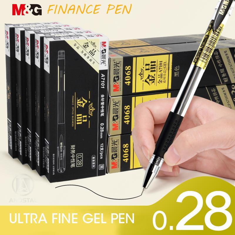 Andstal 0.28mm Ultra Ince Finans Jel Kalem Mg Siyah Jel Mürekkep Dolum Gelpen Okul Ofis Malzemeleri için Kırtasiye Kalemler Kırtasiye