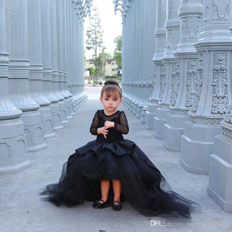 Siyah Çiçek Kız Bebek doğum günü partisi Elbise İçin Elbiseler Yüksek Düşük sevimli Prenses Kız Yarışması Elbise